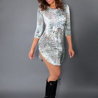 Multicolor Teal Leopard Print Quarter Sleeve Bodycon Mini Dress