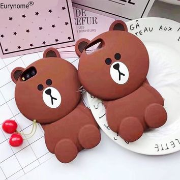 Fashion 3D Cute Cartoon watermelon Strawberry Bear anti-skid soft silicone tpu Case cover For Iphone 7 plus iphone 8 plus case
