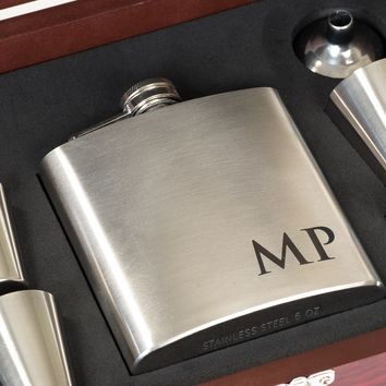 Personalized Silver Stainless Steel Flask Gift Box w/ Custom Engraving, 6pc Set