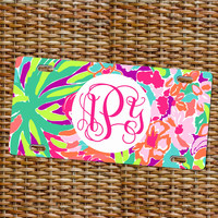 Lilly Pulitzer Inspired Monogram License Plate