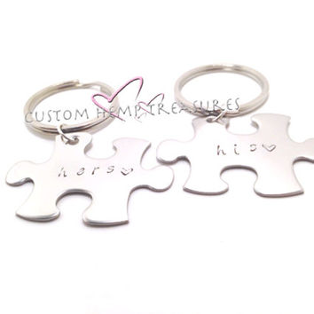 His Hers Keychains, Couples Keychains, Puzzle Piece Keychains, FREE US SHIPPING