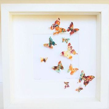 Painted butterflies, handmade paper, butterfly art, handmade butterfly, wall butterflies, butterfly 3 D, wall decor, acrilic colors,
