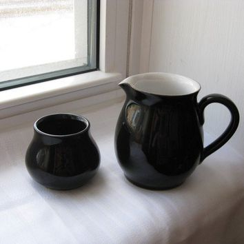 Denby Cream Sugar Mod Eclipse Pattern 50s Black and by pillowsophi
