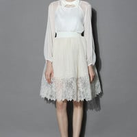Floral Organza Pleated Tulle Skirt  White S/M