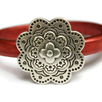 Flower Bracelet Flower Bangle Leather Flower Bracelet Red Rose Leather Bangle Flower Jewelry Flower Clasp Gift Idea PepperPotLeatherShop PPP