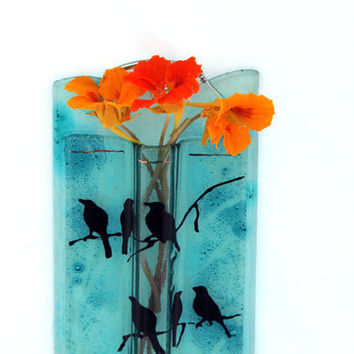 Aqua Blue Decorated Wall Vase ,  fused glas art (birds on a Branch)
