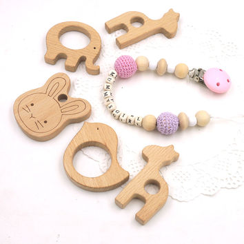 Set of pink lilac crochet beads pacifier clip dummy holder mummysgirl baby girl gift giraffe bunny bird wooden teether  NT180