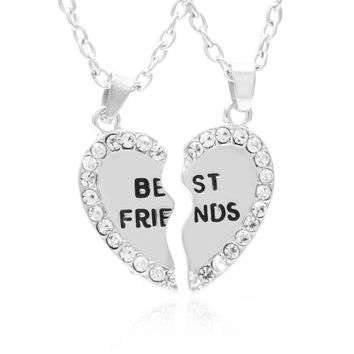 """Accessories"" Best Friends Necklaces Lovely Rhinestone Heart Pendant Necklace"