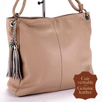 Genuine leather tan tassel bag, shoulder bag, shopping bag, beige bag, handbag, big bag