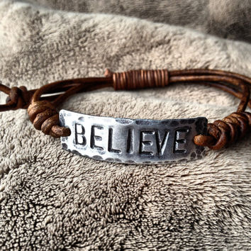 BELIEVE ID Bracelet, silver, leather, Hand Stamped, Inspirational jewelry, bracelet with words,