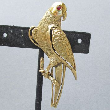 Vintage Signed PELL Gold Tone PARROT Bird Pin with Ruby Rhinestone Eye
