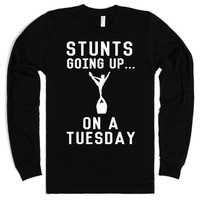 Stunts Going Up...On A Tuesday-Unisex Black T-Shirt