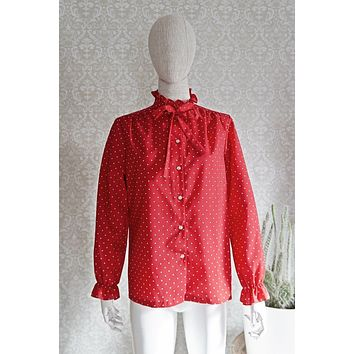 Vintage Polka Dot  Tie Neck Blouse