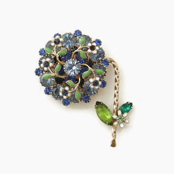 Vintage 60s WEISS BROOCH / 1960s Large Signed Sparkling Blue Flower Rhinestone Pin