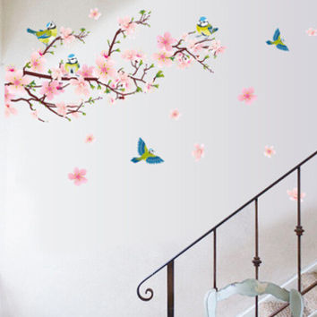 Peach blossom magpie can remove the wall TV background decoration paste PVC transparent membrane wall SM6