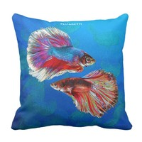 Two Fighting Psychedelic Colorful Fish Psychedelic Throw Pillow