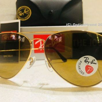 Gotopfashion RAY-BAN LARGE POLARIZED AVIATOR BROWN LENS W/ GOLD FRAME RB3025 001/57 58MM