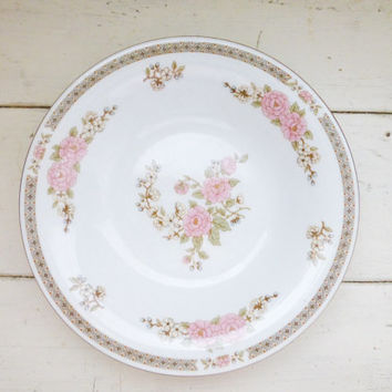Fairfield China Spring Mist Pattern coupe soup bowl, pink floral, fine china, vintage servingware, housewarming, wedding present