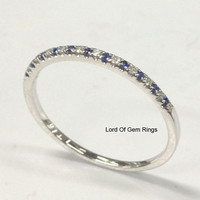 Pave Blue Sapphire Diamond Wedding Band Half Eternity Ring 14K White Gold