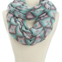 Tribal Print Infinity Scarf by Charlotte Russe - Bright Blue Combo