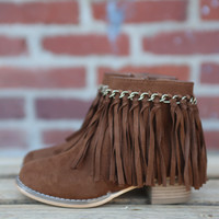 Girls Dolly Fringe Bootie by Pierre Dumas {New Tan}