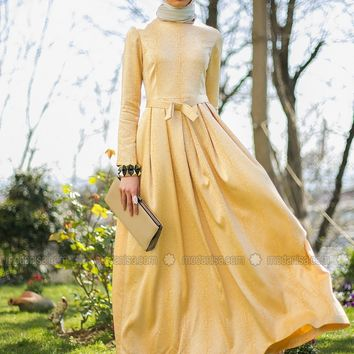 Modanisa - Pleated Dress - Yellow - Mimya