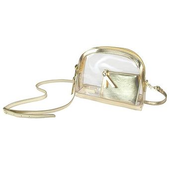 Clear Half Moon Crossbody  | Gold