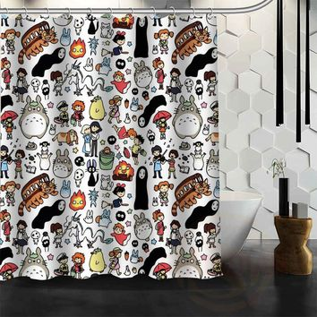 New All Studio Ghibli Character Totoro custom Shower Curtain Cartoons Bathroom Decor Spirited Away Bath Curtain
