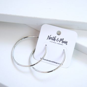 Modern Hoop Earrings, Sliver