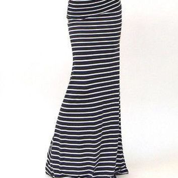Women ASYMMETRIC High Waist Striped Long Maxi Skirt Plus Size Fold Over Stretch Cotton Pencil Skirt