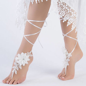 Unique Ivory Lace Barefoot Sandals  Flowers Wedding Shoes  Wedding beach wedding barefoot sandals Beach Shoes Beach Sandals footless sandles