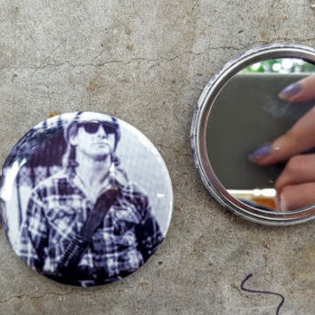 They Live John Carpenter Rowdy Roddy Piper 80s Movie 2.25 inch 58MM purse pocket hand button mirror