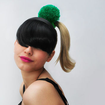 UTHA green pom-pom hair bobble / hair accessories/ hairband