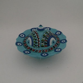 "Turquoise Sugar Bowl , Evil Eye Figures , 5.5"" - 3.5"" , Evil Eye Collection , Free Shipping , Mother's Day Gift"