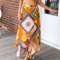 Vintage Tribal Floral Print Boho Long Maxi Skirt