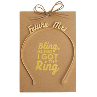 MUD PIE: Future Mrs Headband - Gold
