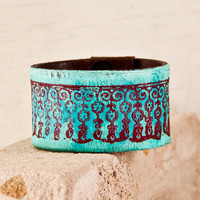 Turquoise Cuffs Bracelets Leather Wristbands Unique Jewelry New Years Sale Vintage Handmade Gift For Women Bohemian Gypsy Hippie Accessories