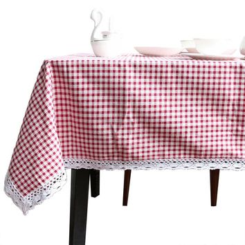 BeddingOutlet Tablecloth Plaid Brown Pink Table Cover Lace Edge Dining Cotton Linen Table Cloth High Quality