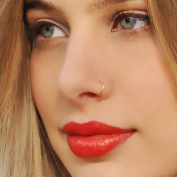 NOSE RING, Nose Hoop, 24 22 20 Gauge, 14K Nose Ring, Gold Filled Nose Ring, Nose Hoop, Gold Nose Ring, Gold Filled Nose Hoop