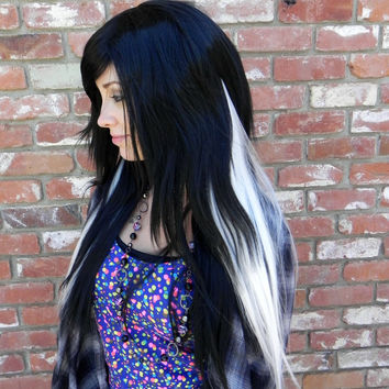 ON SALE // Cruella Deville / Long Straight Layered Wig, Emo Wig, Black White Wig, Cosplay Wig, Scene Hair, Gothic