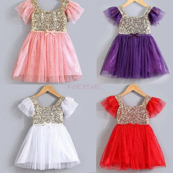Summer princess Children's wear Baby Kids Toddler Girls Sequins One Piece Dress Pleated tutu Dresses baby girls dress 3-9T = 1958498756