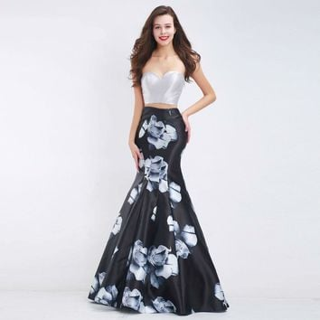 Grey Evening Dresses Mermaid Long Two Piece Sweetheart Elegant Floral Print Pattern Prom Dresses
