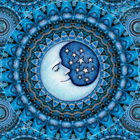 "Blue Moon Celestial Tapestry Wall Hanging 28""x42"" inches unique gift by Artist Dan Morris titled ""Ojas: Vitality"""