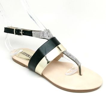 Women's Black and Gold Sandal with Rhinestones