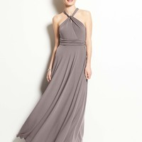 Jersey Keyhole Halter Gown