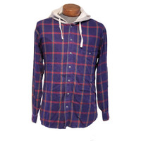 80s Hooded Flannel Indigo Blue, Red and Green Grunge X-Large Flannel Single Pocket