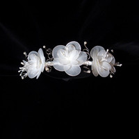 Bridal Headband, Veil Accent, Wedding Hair, Fascinator, Hair Accessory, Flower Design, Hand Made with Wire, for Bride or Flower Girls