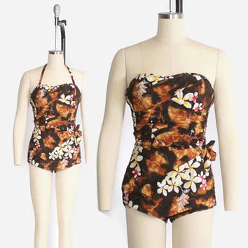 Vintage 50s HAWAIIAN Swimsuit / 1950s Convertible Halter Strapless Hawaiian Sarong Playsuit XS - S