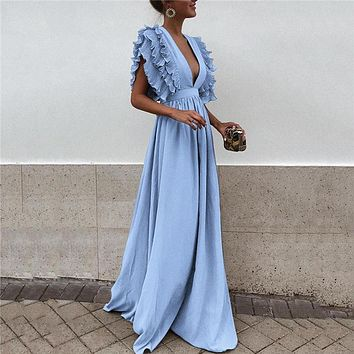 2018 Summer New European Women's Butterfly Sleeves Formal Dress Sweet V Neck Backless Maxi Dress Solid Color Empire Party Dress