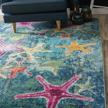 0166 Navy Blue Starfish Design Contemporary Area Rugs